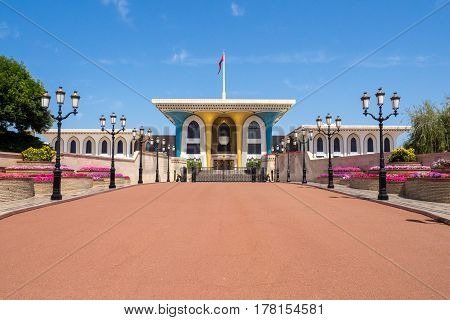 Front view of the Royal Palace of Sultan Bin Al Qaboos in Muscat Muttrah Oman