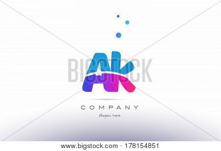 Ak A K  Pink Blue White Modern Alphabet Letter Logo Icon Template