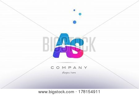 As A S  Pink Blue White Modern Alphabet Letter Logo Icon Template