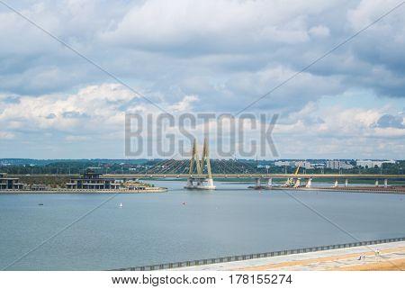 KAZAN RUSSIA - JUNE 25 2016: A bridre Millennium across the river Kazanka at Kazan Republic of Tatarstan Russia.