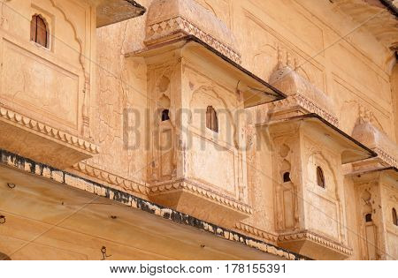JAIPUR, INDIA - FEBRUARY 16: Architectural detail of Amber Fort in Jaipur, Rajasthan, India, on February 16, 2016.