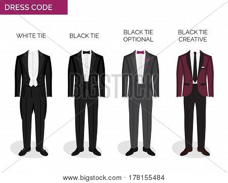 Formal dress code guide information chart for men. Suitable outfits for formal events for men. Tuxedo jacket, bowtie, patent oxford shoes and other elements.