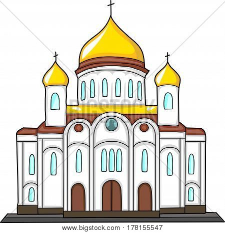 The building of the Orthodox Church with gilded domes.