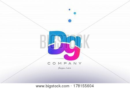 Dg D G  Pink Blue White Modern Alphabet Letter Logo Icon Template