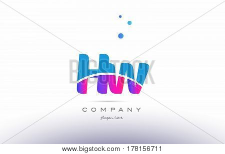 Hw H W  Pink Blue White Modern Alphabet Letter Logo Icon Template