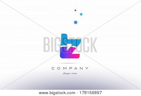 Iy I Y  Pink Blue White Modern Alphabet Letter Logo Icon Template