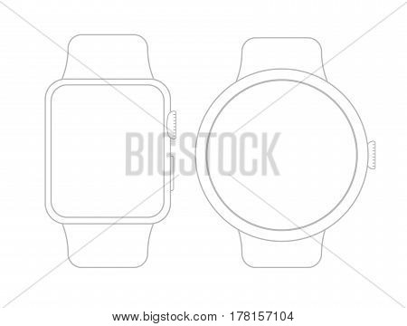 Vector wireframe smart watch on white background. Ideal for presentation applications. Smartwatch illustration.
