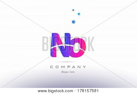 Nn N  Pink Blue White Modern Alphabet Letter Logo Icon Template