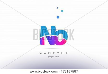 No N O  Pink Blue White Modern Alphabet Letter Logo Icon Template