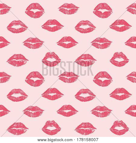 Female lips lipstick kiss seamless pattern cosmetics and love background illustration