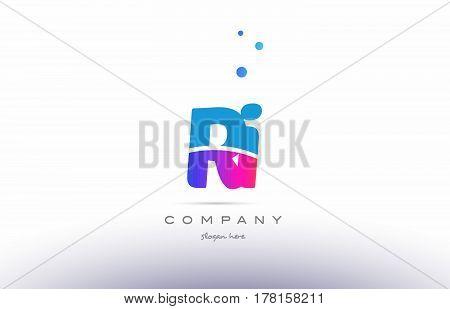 Ri R I  Pink Blue White Modern Alphabet Letter Logo Icon Template
