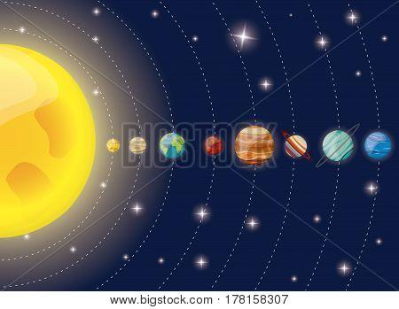 solar system planets sun diagram vector illustration eps 10