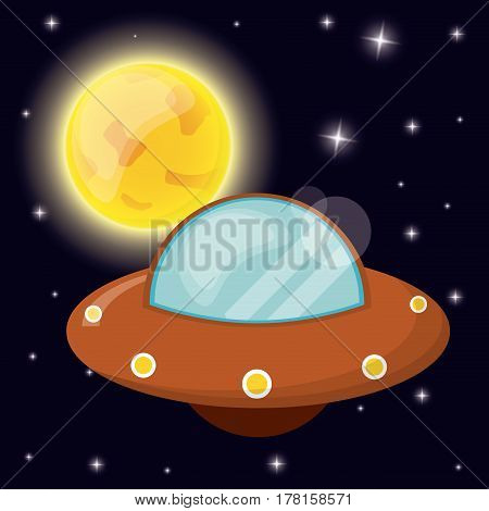 UFO with sun space orbit vector illustration eps 10