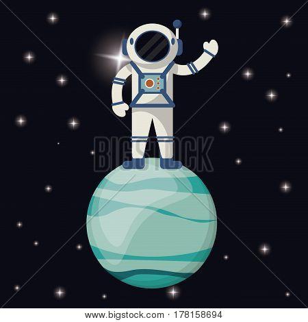 astronaut in uranus planet vector illustration eps 10