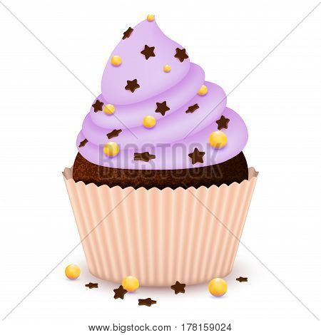 Realistic cupcake muffin with chocolate star chips marmalade blueberry colored sugar beads isolated on white. Cute dessert cake pastry sweet sugar cookie sweetmeat vector illustration
