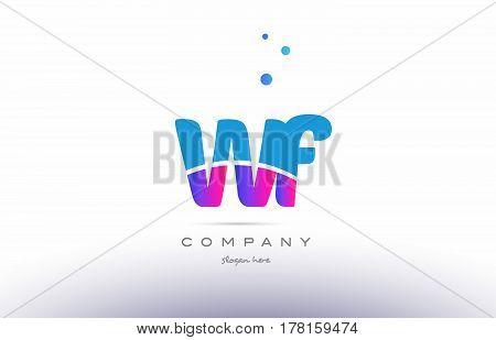 Wf W F  Pink Blue White Modern Alphabet Letter Logo Icon Template