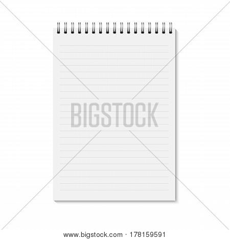 Vector realistic closed notebook. Vertical blank copybook with metallic silver spiral. Template (mock up) of organizer or diary isolated. Horizontal lined notebook.