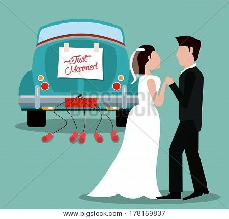 just married couple with car vintage vector illustration eps 10