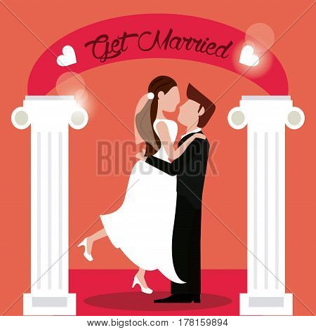 get married groom lifting bride vector illustration eps 10