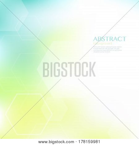 Geometric abstract background with hexagonal shapes. Green and yellow blur background. Vector illustration.