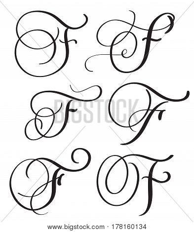 set of art calligraphy letter F with flourish of vintage decorative whorls. Vector illustration EPS10.