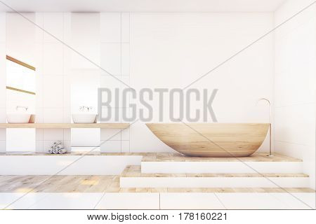 Bathroom With Two Mirrors, Wood, Front, Toned