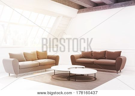 Two Beige Sofas And A Table, Side View