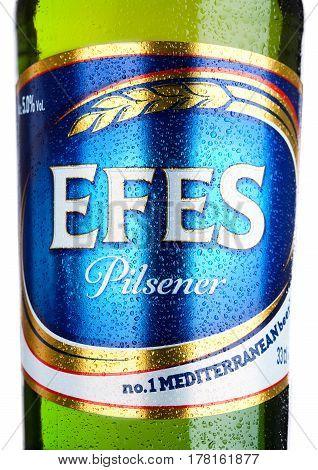 London,uk - March 23, 2017 : Bottle Label Of Efes Pilsner Beer On White. Efes Pilsener Is The Flagsh