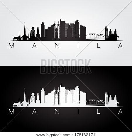 Manila skyline and landmarks silhouette black and white design vector illustration.