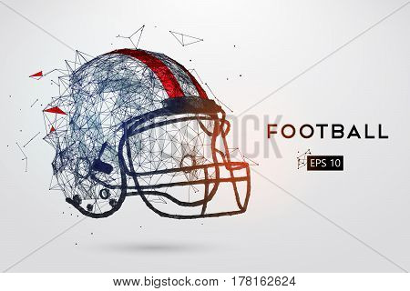American Football Helmet in black. Dots, lines, triangles, text, color effects and background on a separate layers, color can be changed in one click. Vector illustration