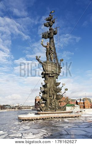 Moscow, Russia - January 22, 2017: Winter Moscow, Monument to Peter the Great on the Moscow River landmark sculptor Tsereteli winter sunset time.