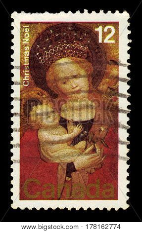 CANADA - CIRCA 1978: stamp printed by Canada, shows Madonna of the Flowering Pea, Cologne School 15th century, circa 1978