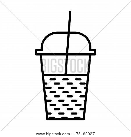 milkshake outline icon, refreshing beverage glass symbol, plastic cup with straw and cup, flat design for logo web and mobile