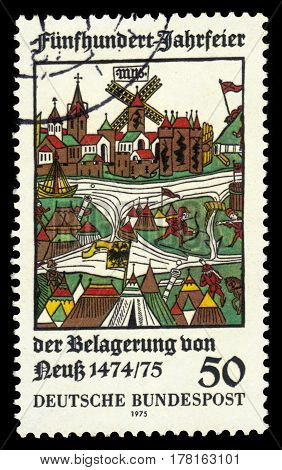 GERMANY - CIRCA 1975: A stamp printed in the Germany shows siege of Neuss, woodcut, 500th anniv. of the unsuccessful siege of Neuss by Duke Charles the Bold of Burgundy, circa 1975
