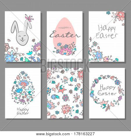 Happy Easter cards set with hand drawn doodle style, design for banner, poster, flayer. Happy Easter greeting cards with cute bunnies.