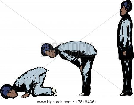 Muslim Male In Various Prayer Positions