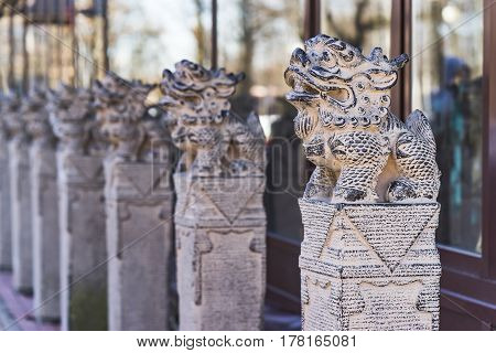 Japanese animal sculptures, Statue of lion-dog, clouse-up