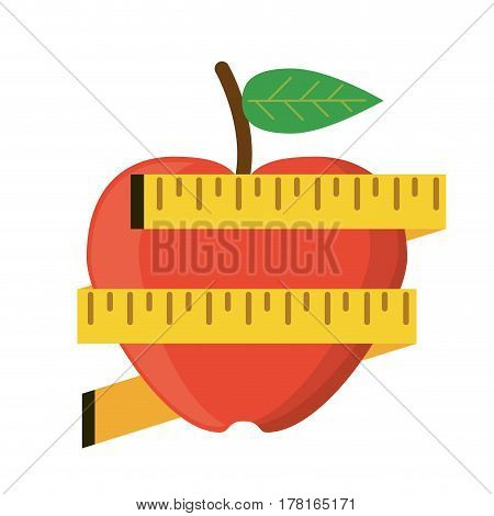 apple measuring tape lose weight vector illustration eps 10