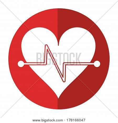 heart beat fitness symbol shadow vector illustration eps 10