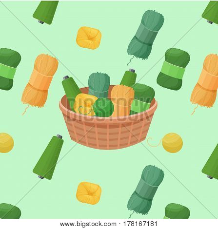 Seamless colorful pattern vector illustration with woolen green yarn skeins for knitting and handmade concept