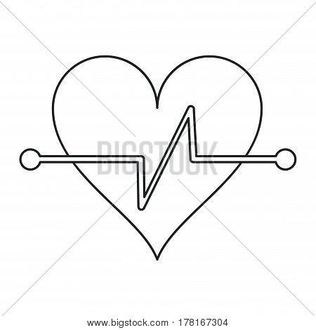 heart beat fitness symbol outline vector illustration eps 10