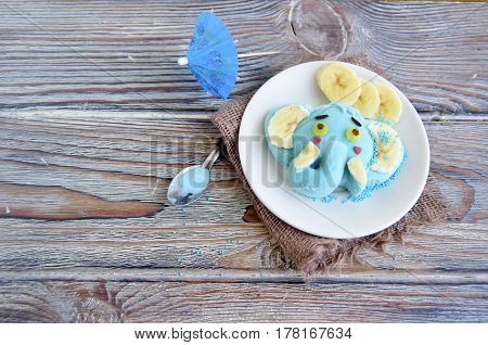 The elephant is made of ice cream. A creative dessert for children and good mood
