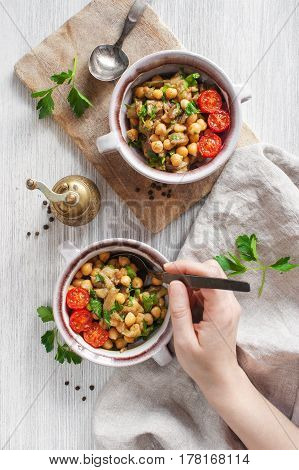 Oriental Salad With Chick-pea And Eggplants In Two Portions