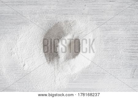 Sifted Flour On The Light Wooden Table