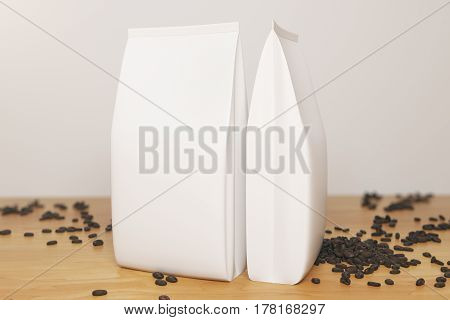 Empty White Coffee Packages