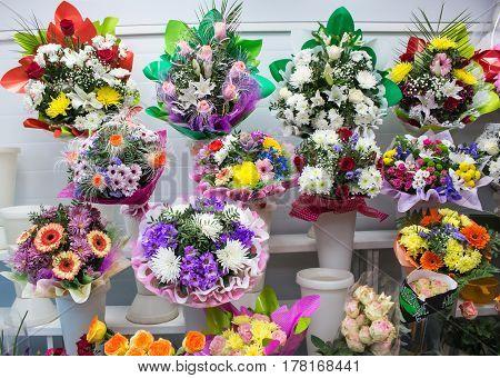 Bunches Of Big Fresh Orange Pink Red Gerbera Chamomile Rose And Big White Yellow Blue Chrysanthemum