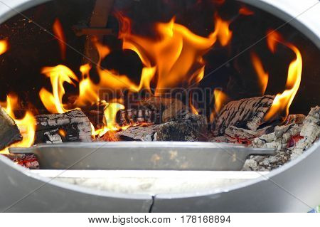Flame In A Barbecue Fire Place