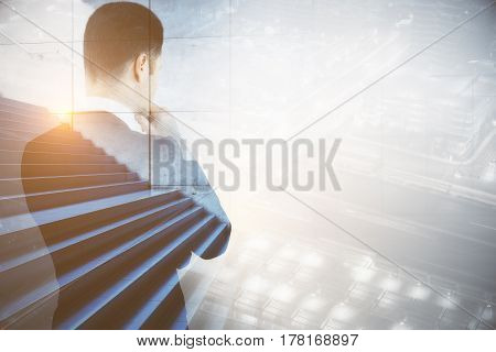 Back view of thoughtful guy with stairs on city background. Success and growth concept. Double exposure