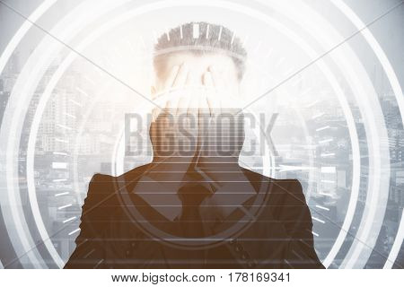 Stressed businessman covering face with hands on abstract city and stairs background with circular digital pattern. Business rick concept