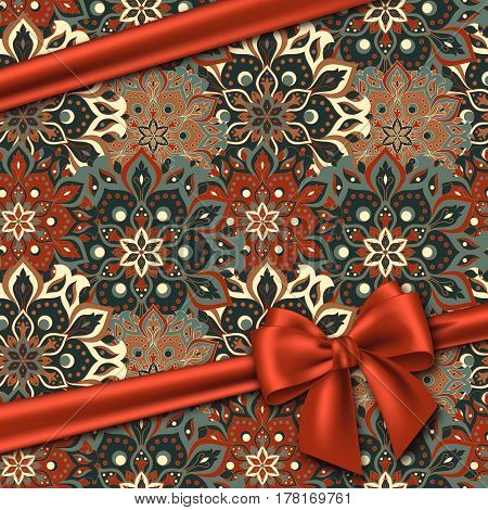Hand drawn mandala pattern with realistic red bow. Vintage decorative elements in oriental style for your design. Vector illustration.